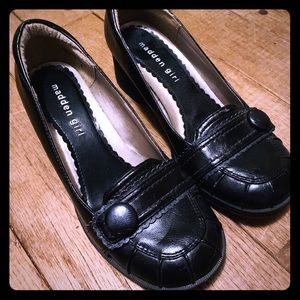 Madden Girl Black Wedge Loafers size 6
